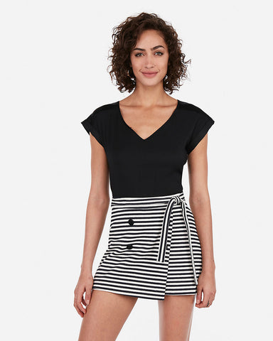 Striped Tie Waist Button Front Skort in Stripe