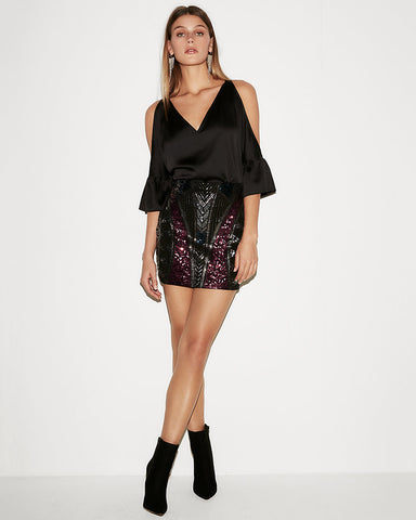 High Waisted Geometric Sequin Mini Skirt In Pitch Black