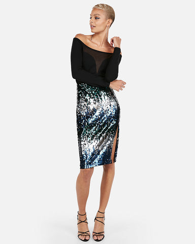 Sequin Midi Skirt in Multi