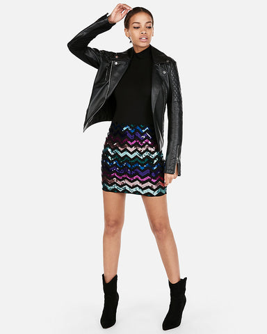 High Waisted Zigzag Sequin Mini Skirt in Multi