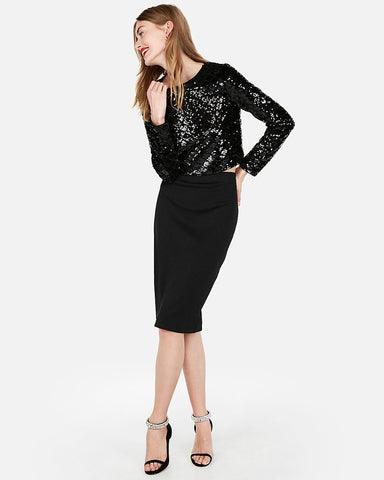 High Waisted Textured Sheen Pencil Skirt in Black