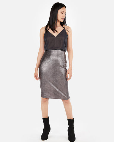 High Waisted Metallic Snake Pencil Skirt in Print