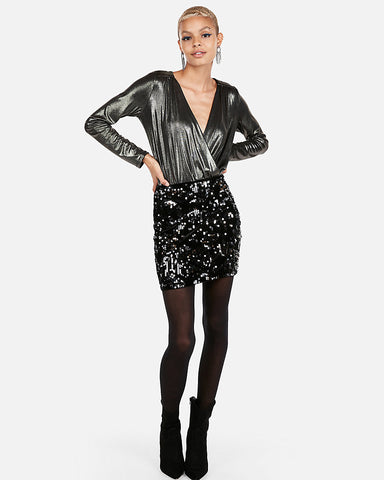 High Waisted Velvet Sequin Mini Skirt in Black