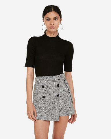 High Waisted Jacquard Wrap Skort in Black And White