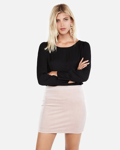 High Waisted Velvet Mini Skirt In Blush