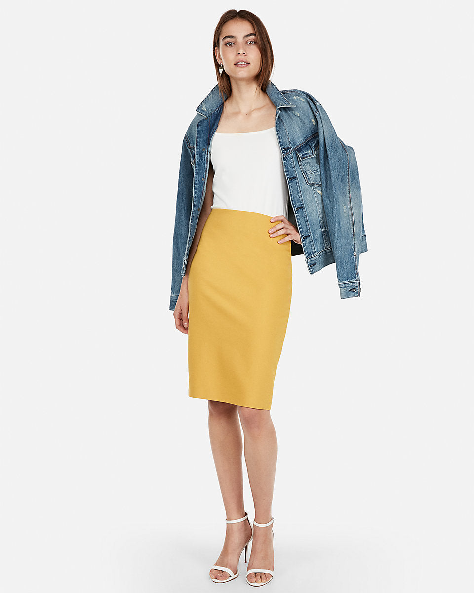a9b84e9598 Express | High Waisted Clean Front Pencil Skirt in Yellow | Express ...