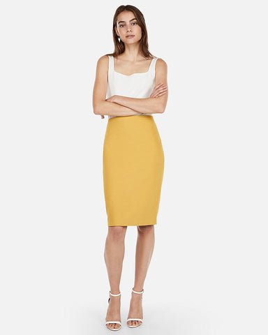 High Waisted Clean Front Pencil Skirt in Yellow