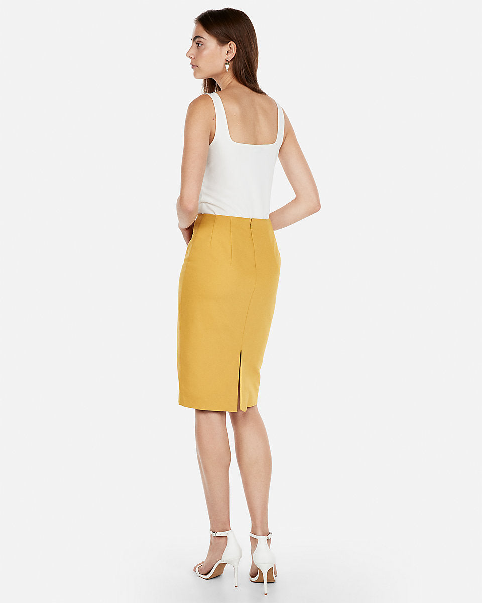 267730f8c Express | High Waisted Clean Front Pencil Skirt in Yellow | Express ...