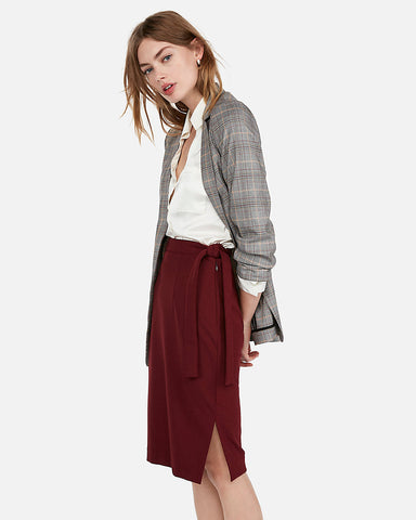 High Waisted Side Tie Pencil Skirt in Wine
