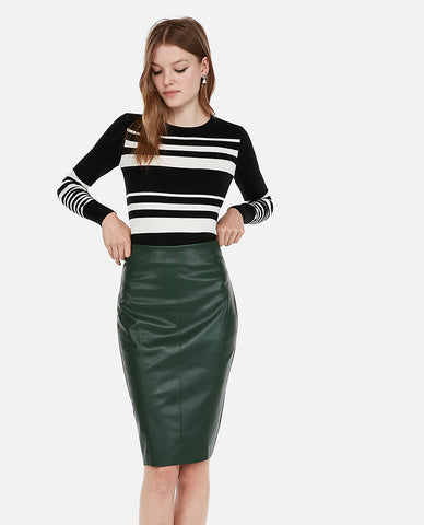 High Waisted (Minus The) Leather Pencil Skirt in Dark Green