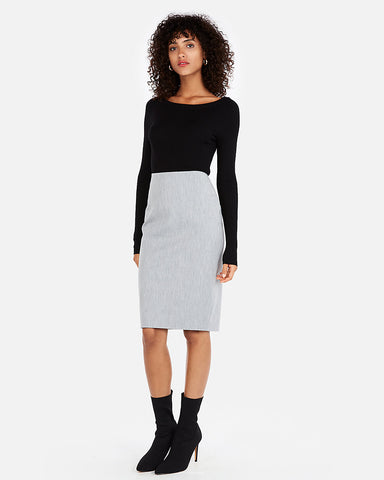 High Waisted Clean Front Pencil Skirt In Heather Gray