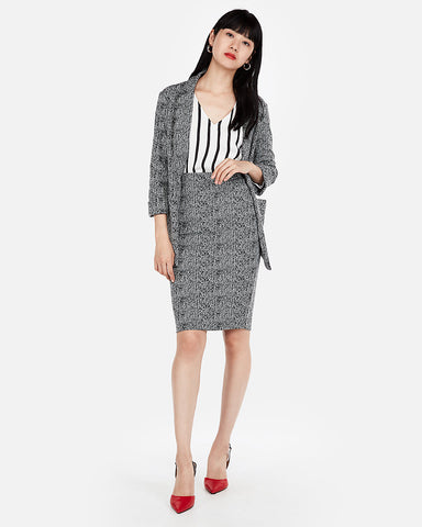 High Waisted Jacquard Clean Pencil Skirt In Black And White