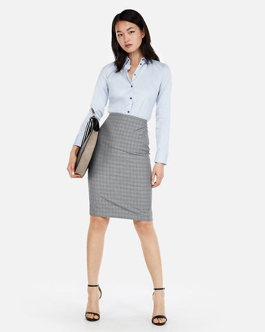 High Waisted Plaid Pencil Skirt in Gray Print