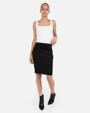High Waisted Sash Tie Pencil Skirt in Black