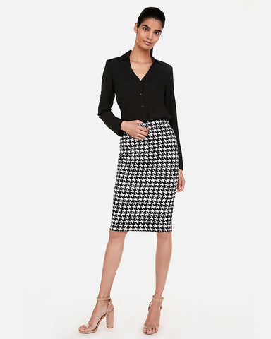 045faa32264 Express High Waisted Houndstooth Fitted Pencil Skirt in Houndstooth
