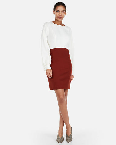 High Waisted Pintucked Pencil Skirt in Spice