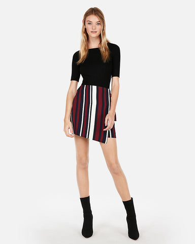 Striped Side Tie Wrap Mini Skirt in Stripe