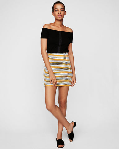 Geometric Knit Mini Skirt In Print