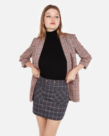 High Waisted Plaid Patch Pocket Mini Skirt In Plaid