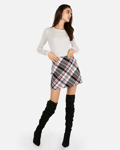 Large Plaid Clean A-Line Mini Skirt in Plaid