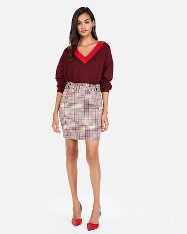 High Waisted Plaid Ruffle Midthigh Skirt In Red Print