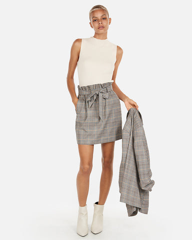 High Waisted Plaid Sash Waist Skirt in Gray Print