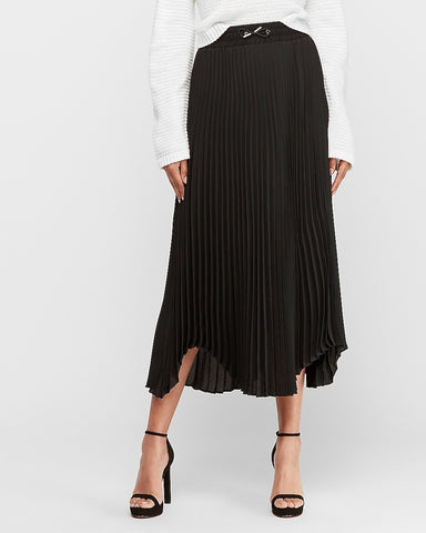 High Waisted Pleated Maxi Skirt in Pitch Black