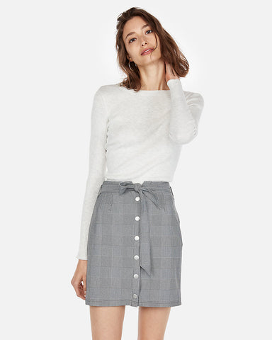 High Waisted Plaid Snap Button Waist Skirt in Gray Print