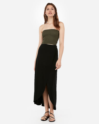 High Waisted Wrap Front Maxi Skirt in Black