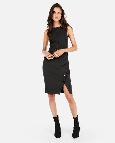 Button Skirt Belted Sheath Dress In Pitch Black