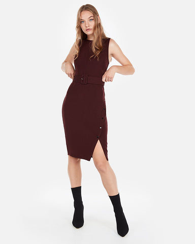 Button Skirt Belted Sheath Dress In Cabernet