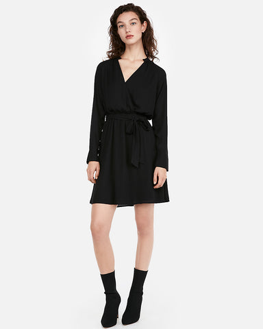 Surplice Tie Waist Shirt Dress in Black