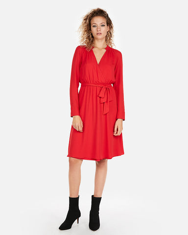 Surplice Tie Waist Shirt Dress in Red