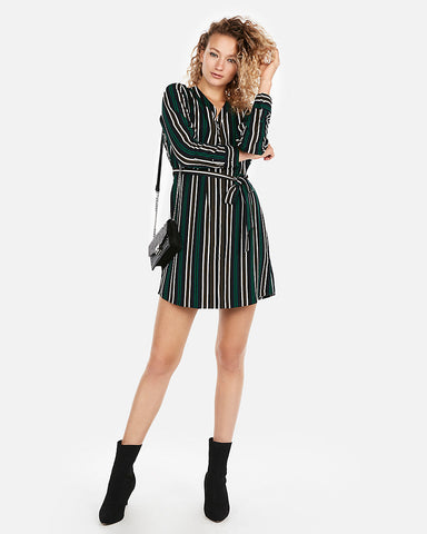 Green Striped Long Sleeve Shirt Dress in Green Stripe
