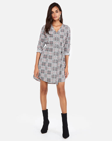Plaid Covered Button Front Shirt Dress In Black And White