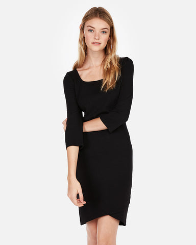 Jacquard Square Neck Sheath Dress in Black