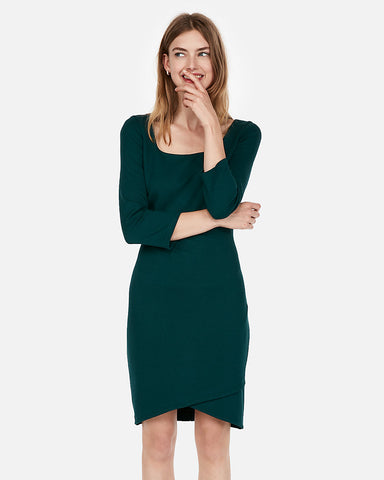 Jacquard Square Neck Sheath Dress in Deep Teal