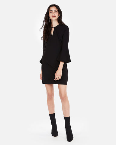 Cut-Out Flounce Sleeve Shift Dress in Pitch Black