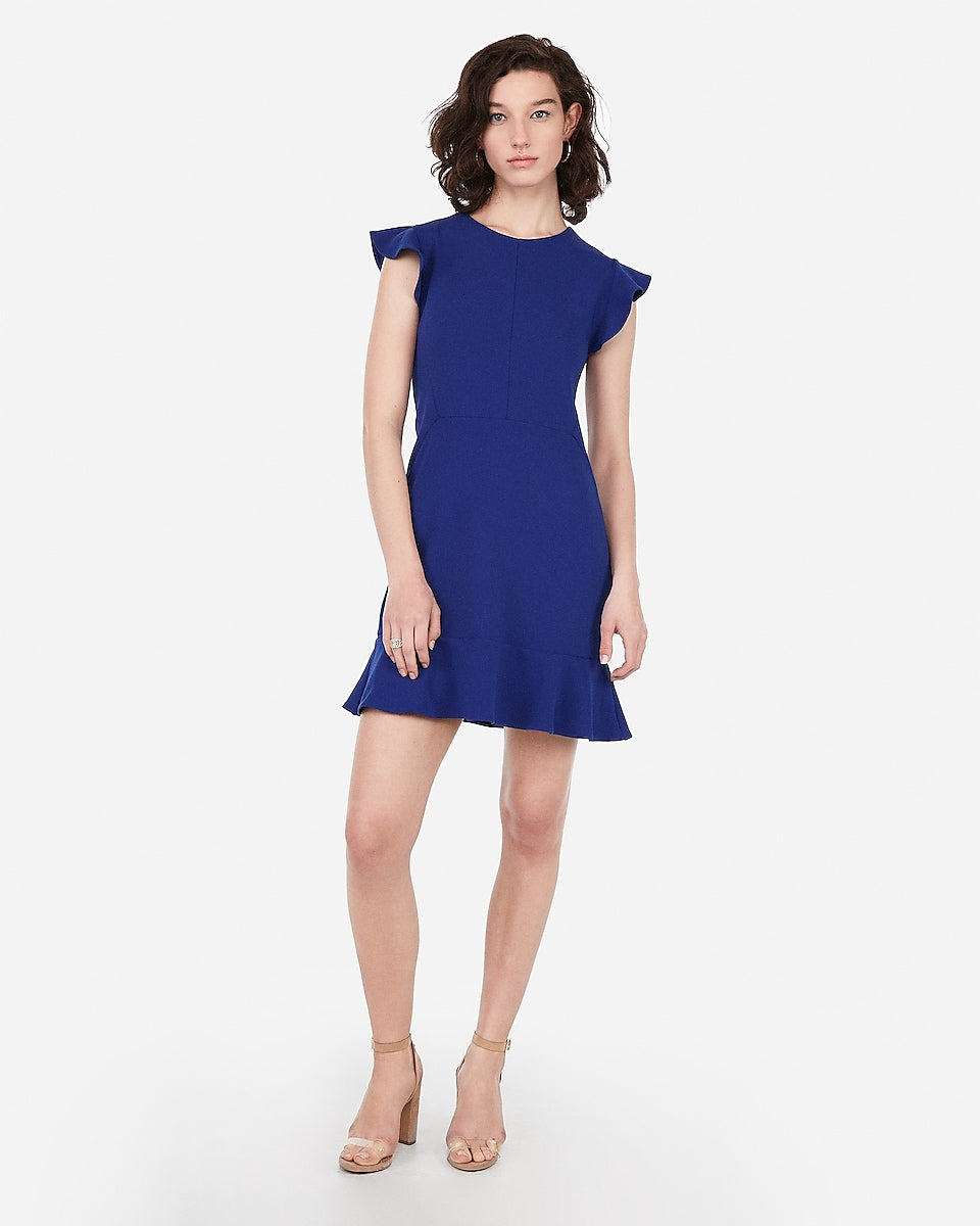a6dfda1bf Express | Ruffle Sleeve Fit And Flare Dress in Sapphire Blue ...