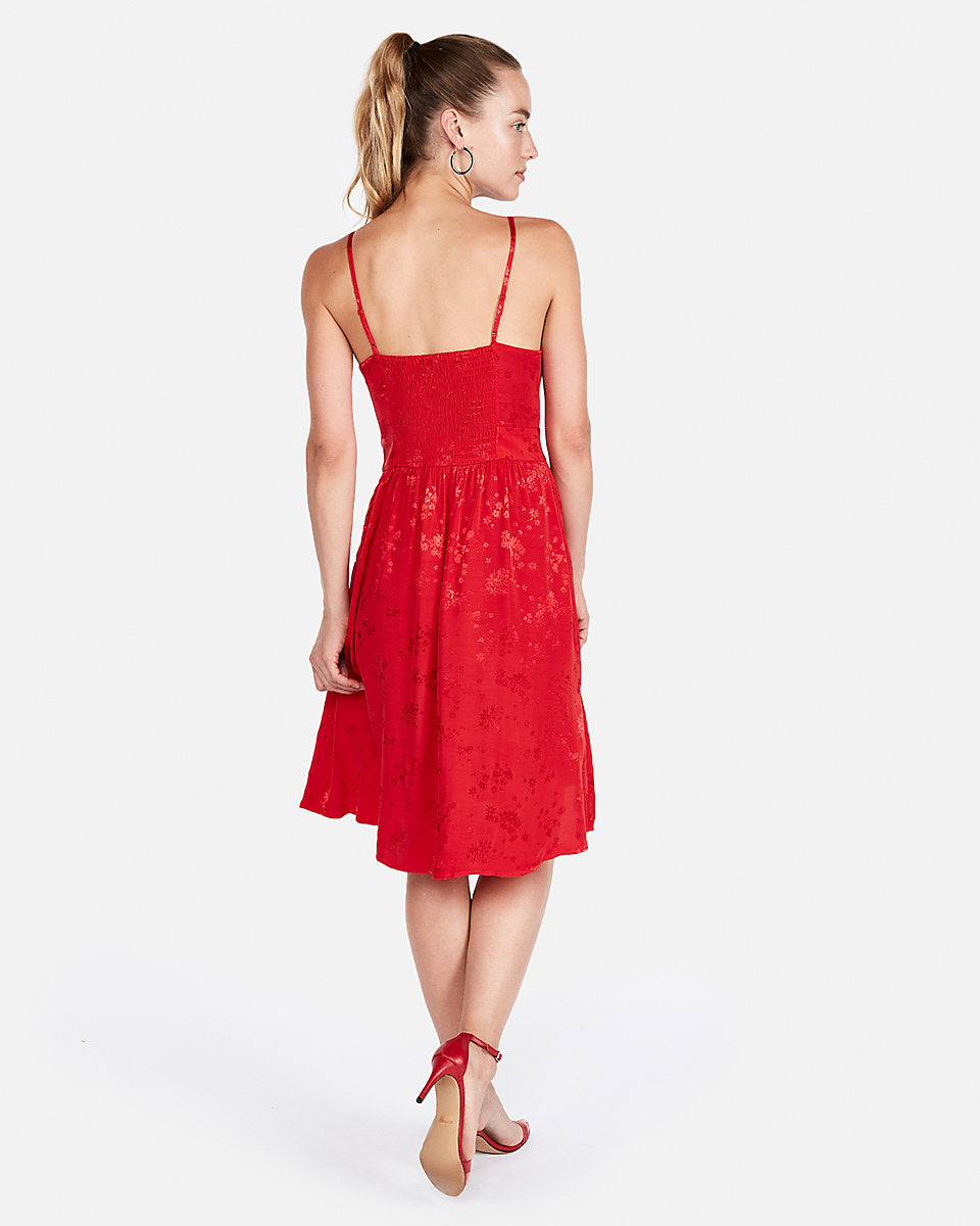 98ecda6ab601 Lace-Up Front Fit And Flare Dress In Red