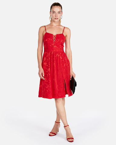 Lace-Up Front Fit And Flare Dress In Red