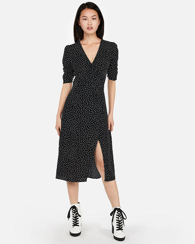Button Front Midi Dress In Black And White