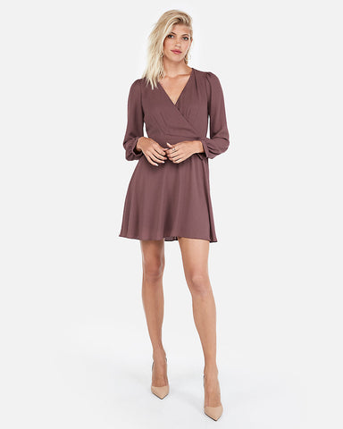 Surplice Fit And Flare Dress In Maroon