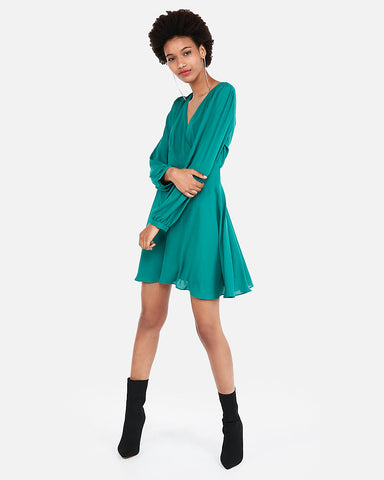 Surplice Fit And Flare Dress In Teal