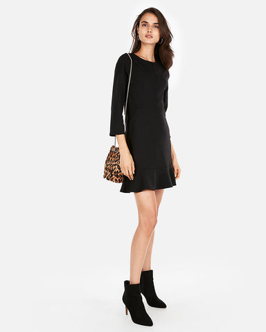 Ruffle Hem Fit And Flare Dress in Black