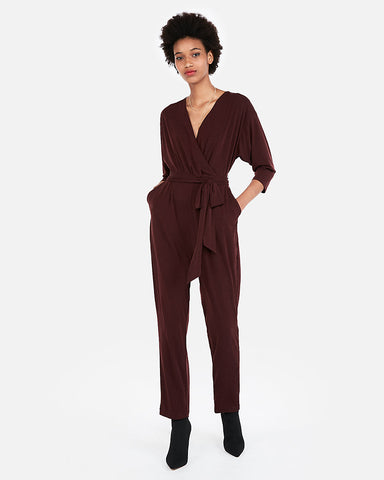 Surplice Jumpsuit In Cabernet