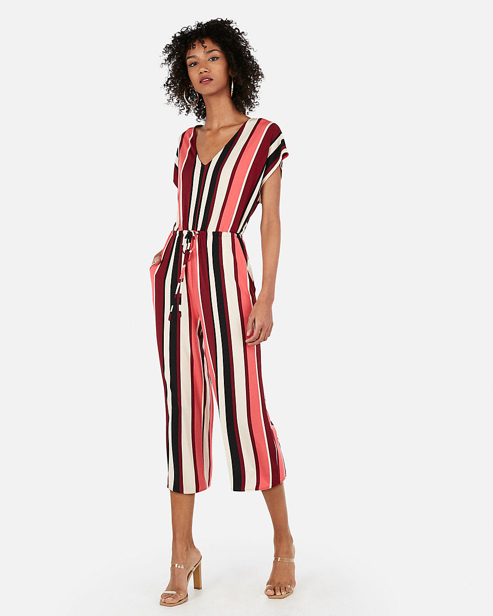 93465e03c05 Mixed Stripe Culotte Jumpsuit in Red Stripe