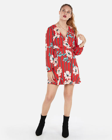 Floral Surplice Fit And Flare Dress In Red Print