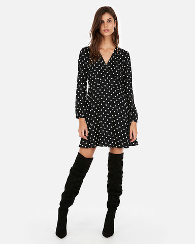 Polka Dot Surplice Fit And Flare Dress in Black And White
