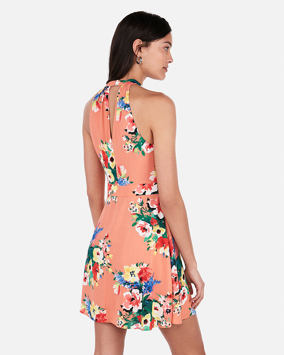 c67ce6ed Express | Floral Halter Keyhole Cut-Out Fit And Flare Dress in Print ...
